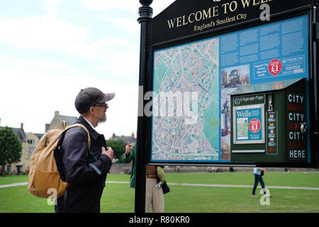A tourist reading a map on the green outside Wells Cathedral. - Stock Image