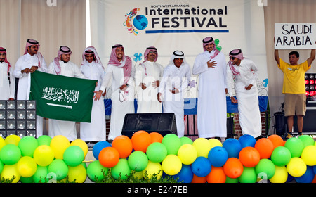 International Festival and Fashion Show participants from Saudi Arabia in Rogers, Arkansas. United States. - Stock Image
