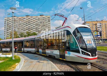 Tram, Prospekt Mira, Alexeyevsky District, Moscow, Russia - Stock Image