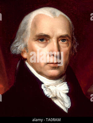 Portrait of James Madison the fourth President of the United States by  John Vanderlyn, 1816 - Stock Image