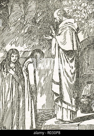 Saint Patrick baptising Irish Princesses, fifth century AD - Stock Image