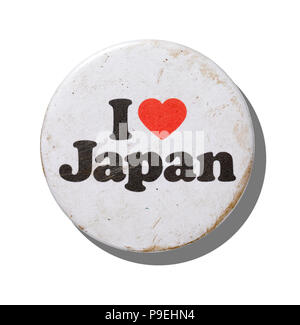 An overhead shot of a vintage I love Japan badge. - Stock Image