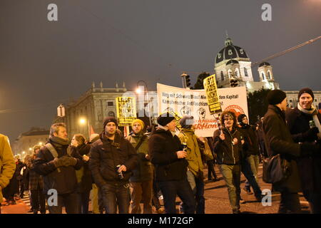 Vienna, Austria. 26th Jan, 2018. Protest against the Akademiker Ball, hosted by the right-wing freedom party (FPÖ) - Stock Image