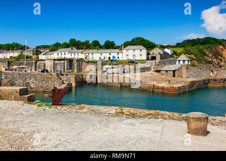 11 June 2018: Charlestown, Cornwall, UK - An unspoiled example of a Georgian working port, it was built between 1791 and 1801, and has been used as a - Stock Image