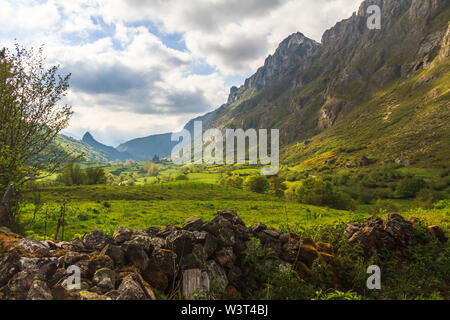 View mountain valley with clouds. Natural summer landscape - Stock Image