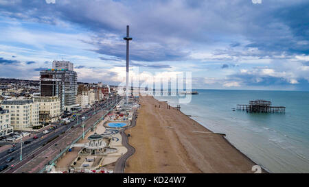 Aerial view of the seafront and the beach in Brighton and Hove, Southern England - Stock Image