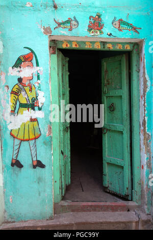 Door of haveli  in Udaipur, Rajasthan, India - Stock Image