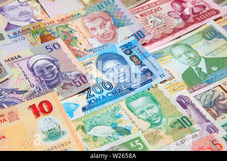 Variety of the African banknotes - Stock Image