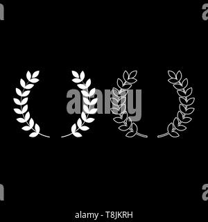 Branch of winner Laurel wreaths Symbol of victory icon outline set white color vector illustration flat style simple image - Stock Image