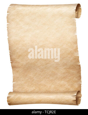 Old papyrus or parchment scroll isolated on white - Stock Image