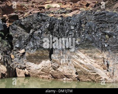 Black Schist Grand Canyon Vishnu Basement Rocks - Stock Image