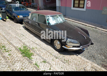 Citreon DS Lisbon Portugal Classic French Saloon - Stock Image