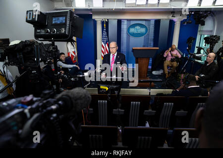 Director of the National Economic Council Larry Kudlow speaks during a T.V. interview at the White House in Washington, D.C. on January 24, 2019. - Stock Image
