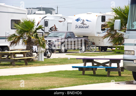 View of campground campsite campervan camper RV for camping in Galveston Texas, USA - Stock Image