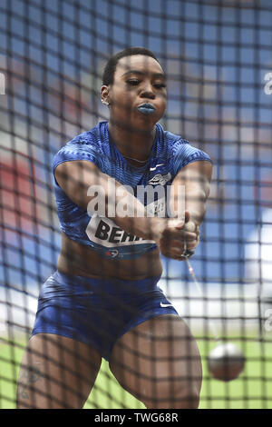 Ostrava, Czech Republic. 20th June, 2019. Gwen Berry (USA) competes in hammer throw during the Ostrava Golden Spike, an IAAF World Challenge athletic meeting, in Ostrava, Czech Republic, on June 20, 2019. Credit: Jaroslav Ozana/CTK Photo/Alamy Live News - Stock Image