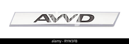 All Wheel Drive Chrome Badge Emblem Isolated on White Background. - Stock Image