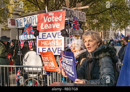 London, UK.  9th January 2019. Protests by stop Brexit group SODEM (Stand of Defiance European Movement) and pro-Brexit campaigners continue opposite Parliament. Most Brexiteers had come to support Brexit rather than cause trouble, and held posters and shouted in support of leaving the EU. Police still seemed reluctant to act against possible breaches of public order when SODEM protesters were harassed, but there were few if any MPs to be seen. Credit: Peter Marshall/Alamy Live News - Stock Image
