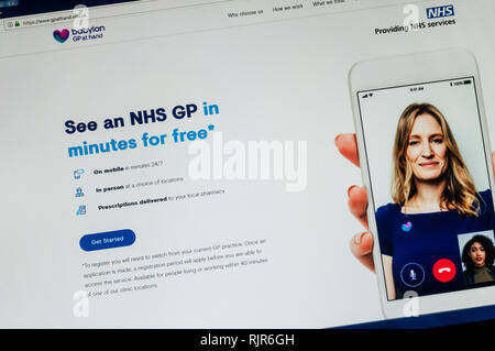 Home page of the website of GP At Hand from Babylon Health which provides online access to a doctor. - Stock Image