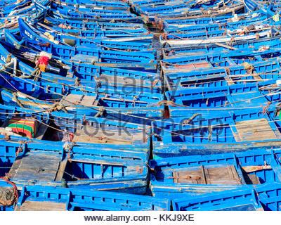 Morocco, Marrakesh-Safi (Marrakesh-Tensift-El Haouz) region, Essaouira. Boats in the fishing port. - Stock Image