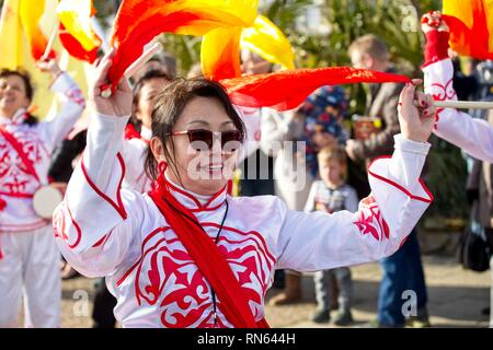 Eastbourne, UK. 17th Feb 2019. Revellers celebrate Chinese New Year on the streets of Eastbourne today. East Sussex.  Credit: Ed Brown/Alamy Live News - Stock Image