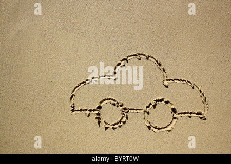 Drawing of a car in wet sand. Please see my collection for more similar photos. - Stock Image