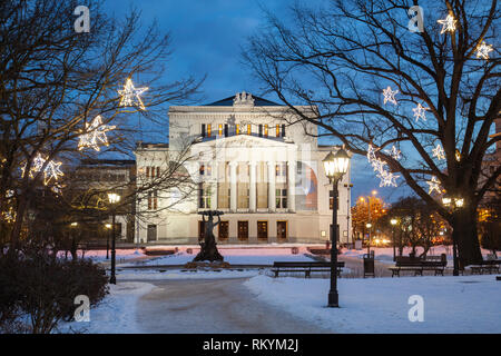 Winter evening at the Opera House in Riga. - Stock Image
