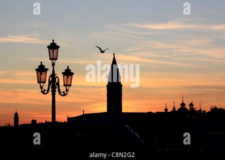 Venice sunset silhouette - Stock Image