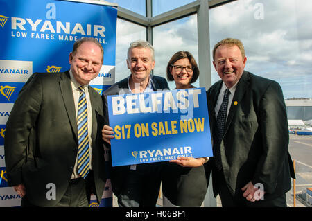 Belfast, Northern Ireland. 20 Sep 2016 - Brian Carlin (L), Director of Commercial Development, Deborah Harris (CR), - Stock Image