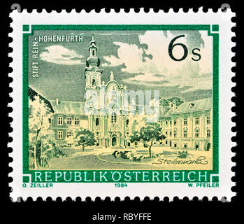 Austrian postage stamp (1984) : Monasteries and Abbeys series: Rein-Hohenfurth Abbey / Stift Rein-Hohenfurth - Stock Image
