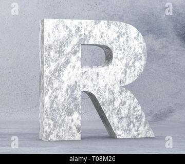 Concrete Capital Letter - R isolated on white background. 3D render Illustration - Stock Image