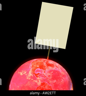 globe with red overheated atmosphere - Stock Image