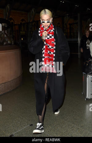 Rita Ora arrives back from Paris on The Eurostar  Featuring: Rita Ora Where: London, United Kingdom When: 21 Dec 2018 Credit: WENN.com - Stock Image