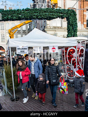 Security gate with bag search at the entrance to the Lille Christmas Market. - Stock Image