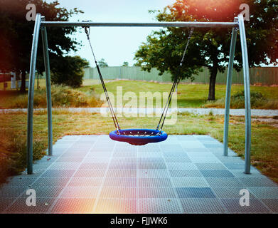 Swing in adventure playground, New Zealand - Stock Image