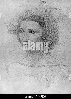 fine arts, Jean Clouet (1480 - 1541), drawing, Dona Leonora de Sapata, portrait, 1531, Additional-Rights-Clearance-Info-Not-Available - Stock Image