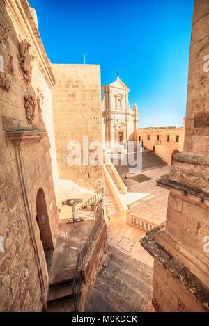 Victoria, Gozo island, Malta: Cathedral of the Assumption in the Cittadella, also known as Citadel, Castello - Stock Image