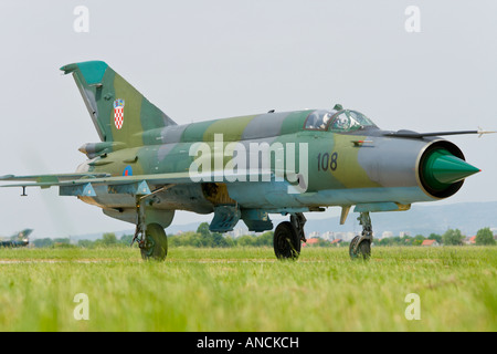 Croatian Air Force MiG-21 BISD '108' fighter taxiing, Pleso AFB during 'open day' visit in 2007 - Stock Image