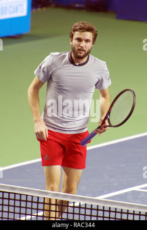 Pune, India. 3rd January 2019. Gilles Simon of France at the end of his quarter final match of the singles competition at Tata Open Maharashtra ATP Tennis tournament in Pune, India. Credit: Karunesh Johri/Alamy Live News - Stock Image