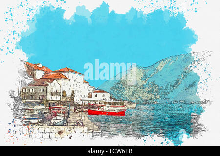 Watercolor sketch or illustration of a view of a house with many Windows and balconies of a beautiful view of Perast in Montenegro. - Stock Image