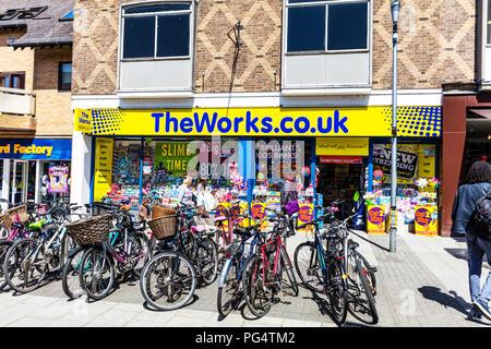 The Works book shop, The Works book store, The Works, book shop, book store, store front, shop front, book shops, UK High Street, shop sign, Cambridge - Stock Image