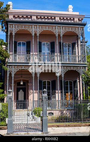 Front view of Musson-Bell House, Italianate villa built in 1853 by Michel Musson, Garden District, New Orleans, Louisiana, USA - Stock Image