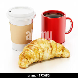 Coffe mug, cup and croissant isolated on white background. 3D illustration. - Stock Image