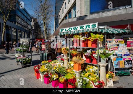 Flower stall New street, Birmingham UK - Stock Image