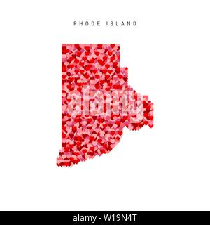 I Love Rhode Island. Red Hearts Pattern Vector Map of Rhode Island - Stock Image