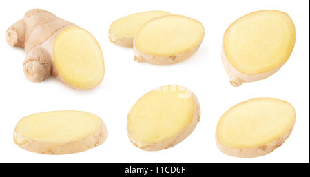 Isolated ginger collection. Pieces of raw ginger root isolated on white background with clipping path - Stock Image