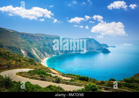 Petani beach, Kefalonia island, Greece. Stunning view of Petani bay in Greek island of Cephalonia. - Stock Image