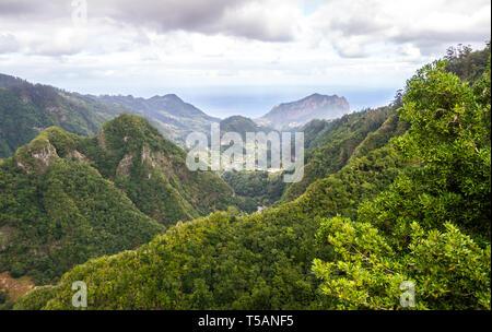 View from Balcoes de Ribeiro Frio viewpoint, levada dos Balcoes in Madeira island, Portugal. - Stock Image