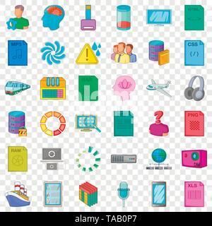 Downloading icons set, cartoon style - Stock Image
