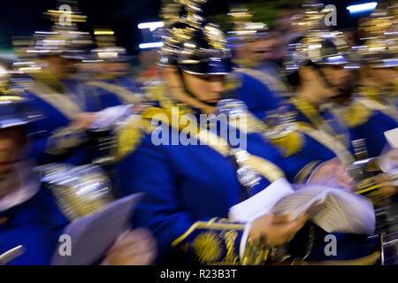 Seville, Spain - April 2011: Military Band, Semana Santa Fiesta, Easter,Seville, Andalucia, Spain - Stock Image