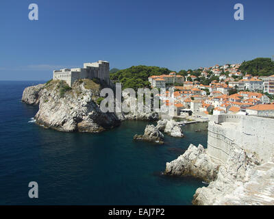 Croatia Coast, the European city of Dubrovnik in summer - Stock Image